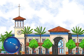 an architectural rendering of a Christian high school building - with Hawaii icon