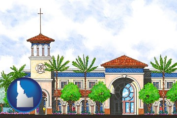 an architectural rendering of a Christian high school building - with Idaho icon