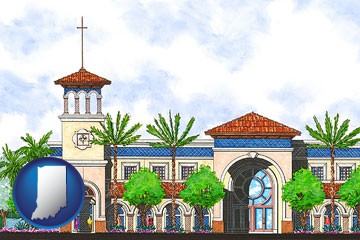an architectural rendering of a Christian high school building - with Indiana icon