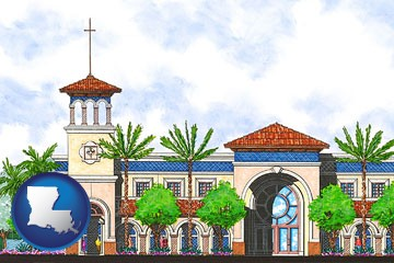 an architectural rendering of a Christian high school building - with Louisiana icon