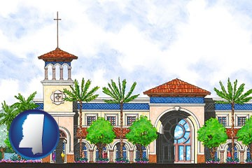 an architectural rendering of a Christian high school building - with Mississippi icon