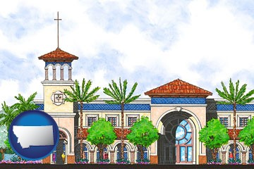 an architectural rendering of a Christian high school building - with Montana icon