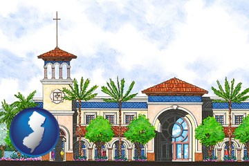 an architectural rendering of a Christian high school building - with New Jersey icon