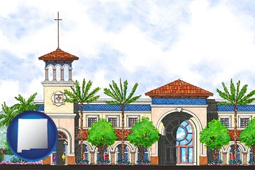 an architectural rendering of a Christian high school building - with New Mexico icon