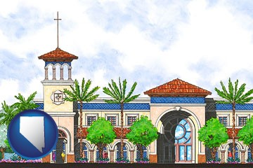 an architectural rendering of a Christian high school building - with Nevada icon
