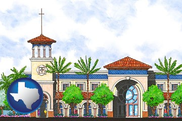 an architectural rendering of a Christian high school building - with Texas icon
