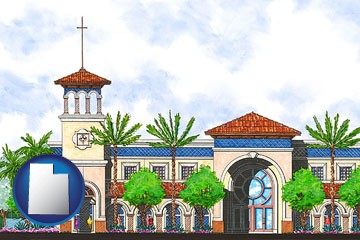 an architectural rendering of a Christian high school building - with Utah icon
