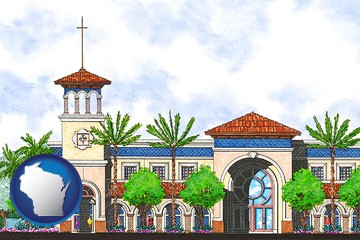 an architectural rendering of a Christian high school building - with Wisconsin icon