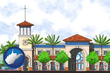 an architectural rendering of a Christian high school building - with West Virginia icon